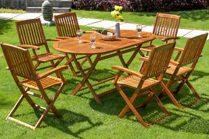 Salon de jardin Boston 1 Table et 6 Chaises en bois d\'acacia ...
