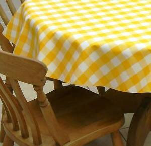 Superieur Image Is Loading 1 4m ROUND PVC VINYL TABLECLOTH YELLOW GINGHAM