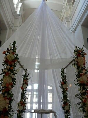 """Voile 116"""" wide, white, ivory or  black, for wedding decoration, free swatches."""