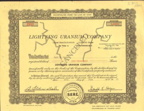 Lightning Uranium Company /> Salt Lake City Utah mining stock certificate