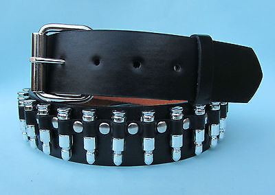 Silver Bullet Goth Snap on Leather Look Belt