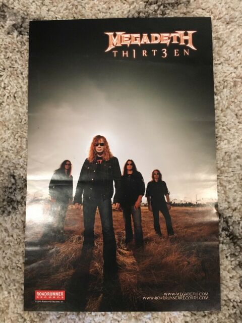 Megadeth TH1RT3EN 13 Poster Roadrunner Records Public Enemy No. 1 2011 NEW