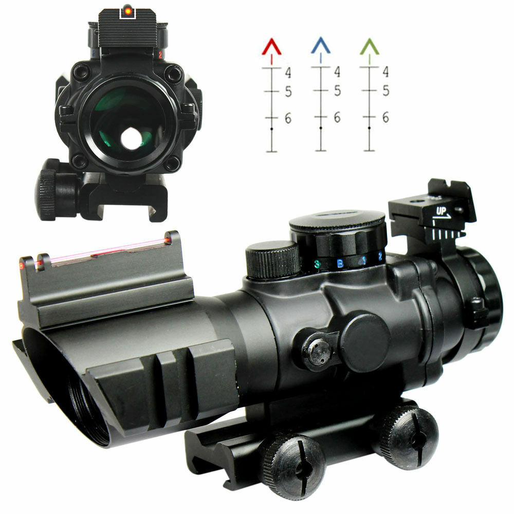 Tactical Prismatic 4x32 Rifle Scope Crosshair Fiber Optic Sight w Mount & Rings