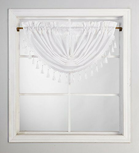 "48/""X 38Inch 1 piece Solid White Valance Faux Silk Rod Pocket With Tassels"