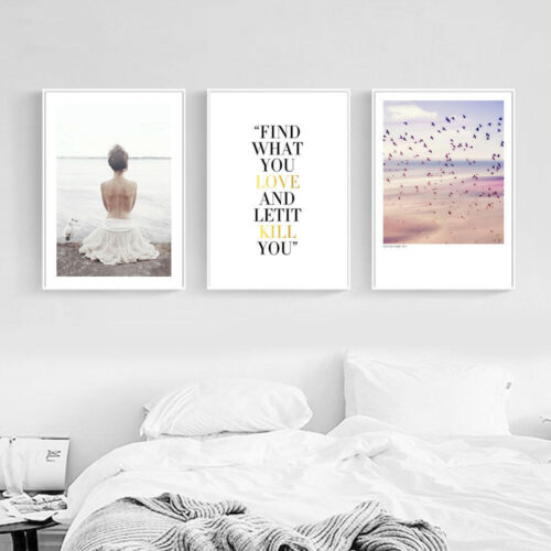 Nordic Girl Feather Abstract Wall Art Canvas Poster Print Nordic Decoration