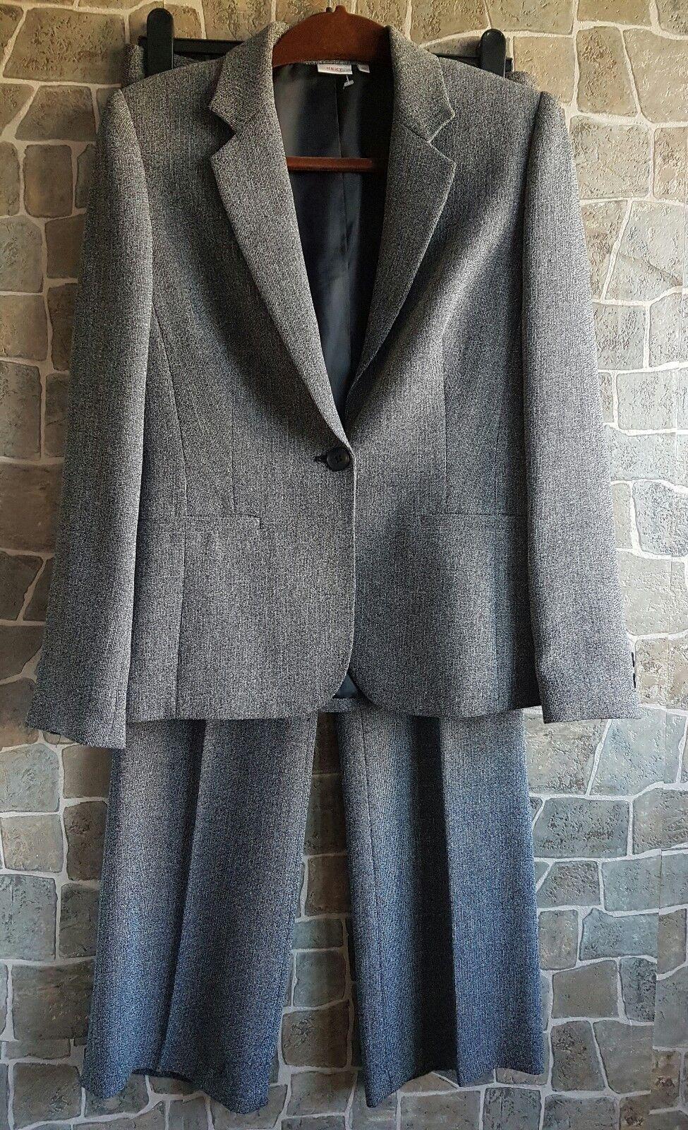 Next womens grey suit office wear career blazer sz 10 trousers sz 12 waist 30
