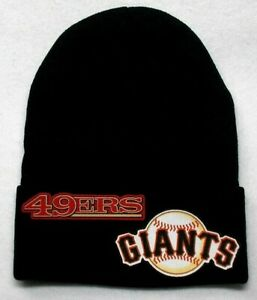 READ-ALL-San-Francisco-49ers-Giants-Heat-set-Flat-Logos-on-Beanie-Knit-Cap-hat