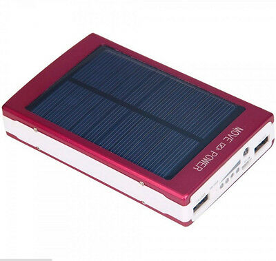 30000mAh Dual USB Portable Solar Battery Charger Power Bank For Cell Phone Red