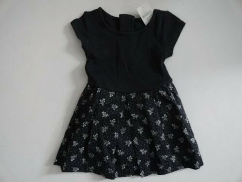 NWT Baby Gap 12-18 18-24 Ribbed Floral Dress Navy Short Sleeve New
