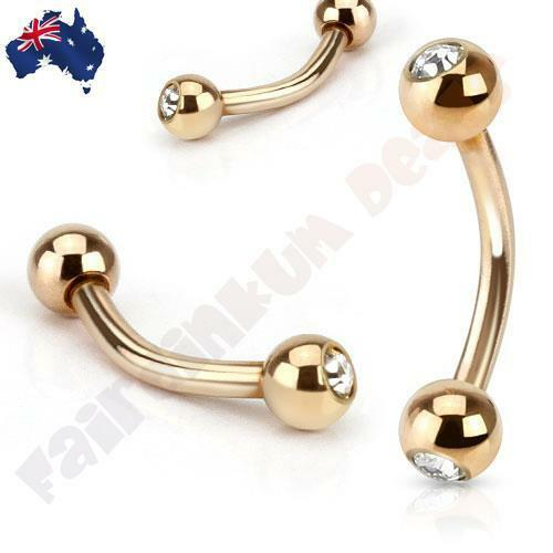 Rose Gold Ion Plated Curved Eyebrow Bar Ring with Clear Jewelled Balls