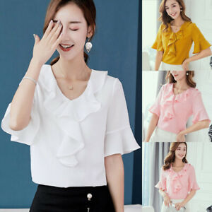 Ladies-T-Shirt-Shirt-Chiffon-Women-Fashion-Top-Loose-Blouse-Summer-Short-Sleeve
