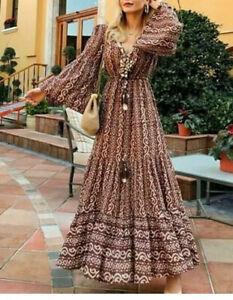 Zara Midi Dress Boho Hippie Mussels Printed Dress Seashell 5107 040 Ebay