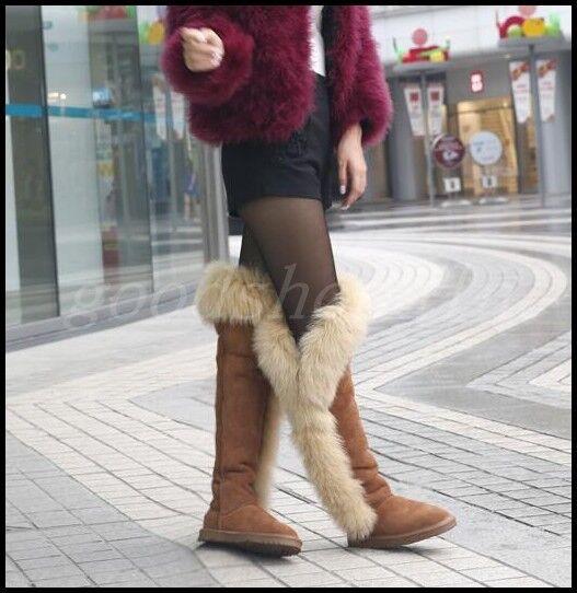 Gamuza Para Mujer De Lujo Nieve Invierno grande de Zapatos piel de zorro la rodilla botas altas Zapatos de Planos Caliente Nuevo 732085