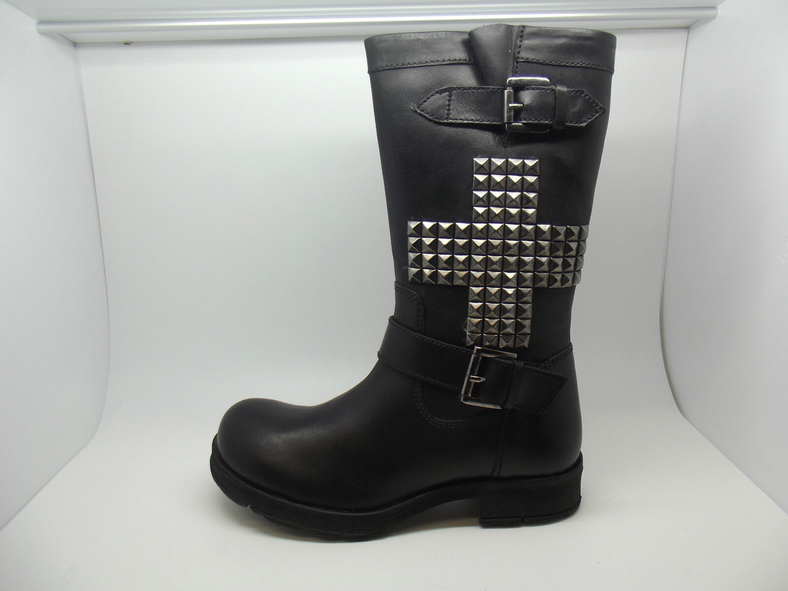 STUNNING BLACK LACEYS OF LONDON BATGIRL BLACK STUNNING LEATHER CROSS STUDDED BIKER Stiefel 3 - 8 c97f18