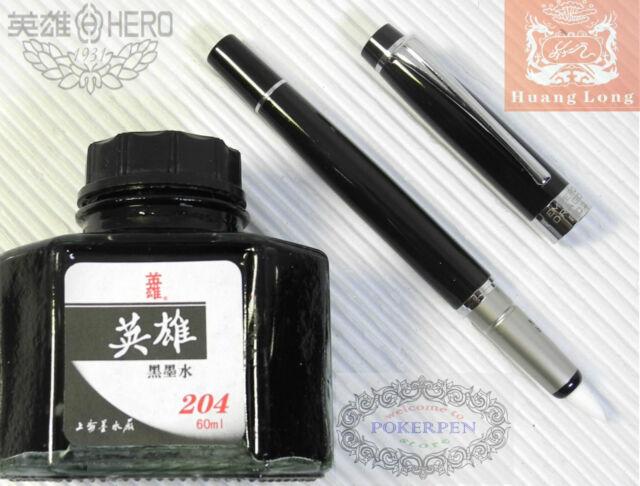 HUANG LONG 802 BRUSH PEN + HERO Fountain Pen Bottle ink 60ML Black