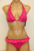 NWT Guess Swimsuit Bikini 2pc set  Sz L M PINK Slide Bra Tie Side