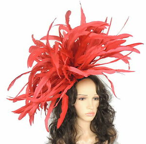 Very Large Feather Red Fascinator Hat For Weddings Ascot Proms With ... f6e29f4734b
