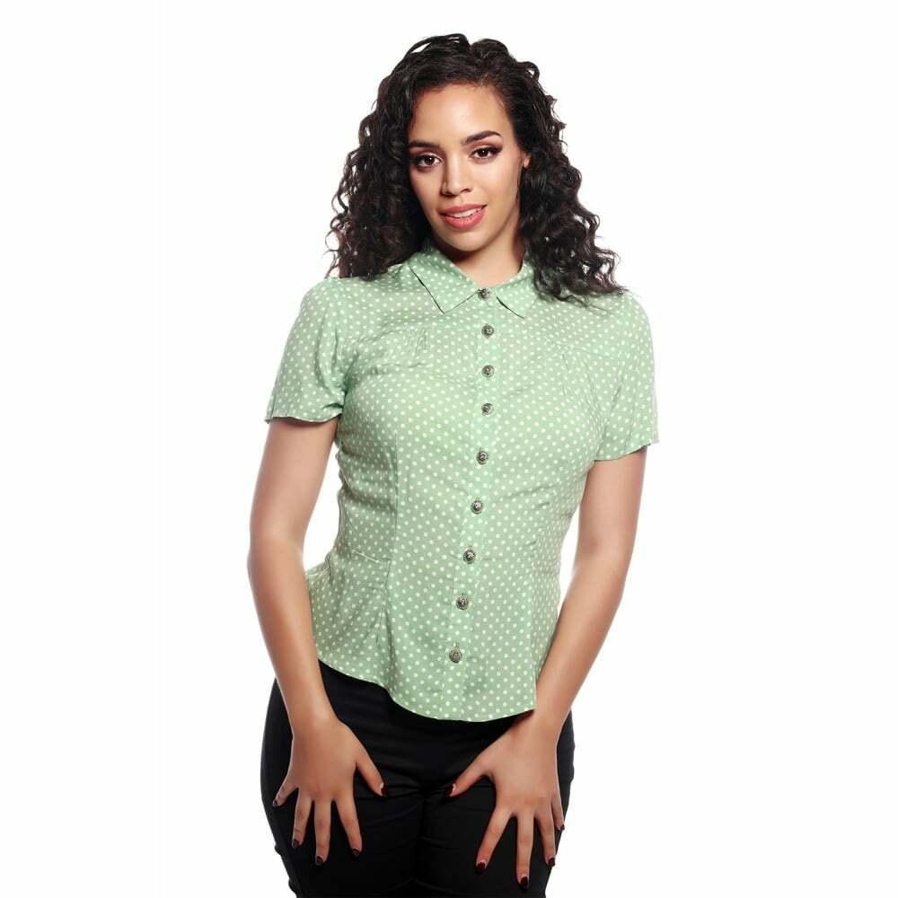 Collectif X Modcloth Avery Polka Dot Blouse Green