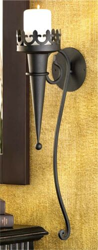 """STUNNING TORCH STYLE MATTE-BLACK 18.8/"""" GOTHIC WALL CANDLEHOLDER SCONCE ** NIB"""