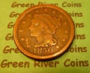 1850  U S Braided Hair Large  Cent   #50-1        (1839-1857)