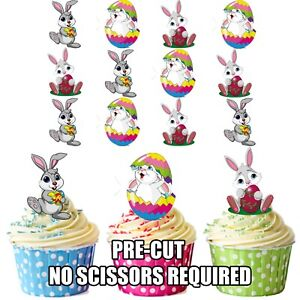 PRECUT Easter Cupcake Topper Cake Decorations Bunny /& Chick pack of 36