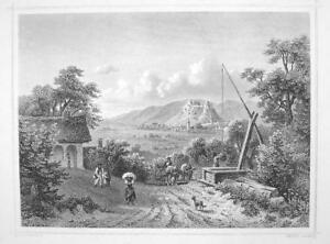 HUNGARY-View-of-Sumeg-amp-Castle-1870s-Original-Engraving-Print