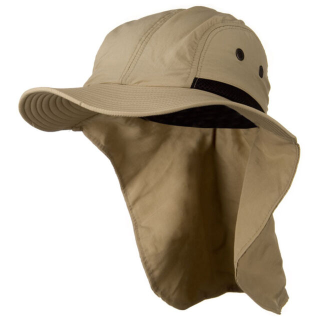 Mens Womens Camping Outdoor Hiking Sun Protection Hat With Neck Cover Flap  Khaki 8006dbbf428