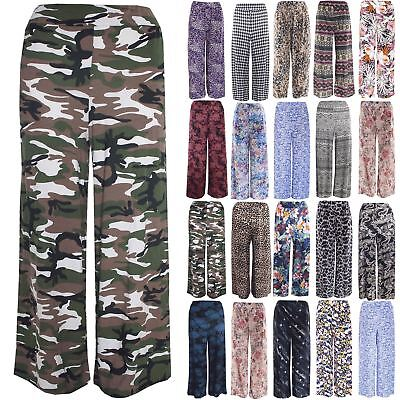 Intelligent Plus Size Ladies Women Floral Trouser Flared Parallel Stretchy Palazzo Leggings