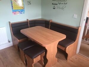 Image Is Loading Kitchen Dining Corner Seating Bench Table 2 Stools