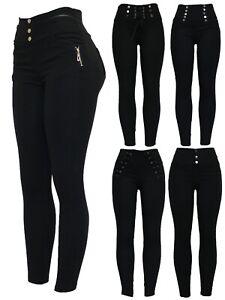 Womens-Black-Stretchy-Zip-Detail-Biker-Style-Skinny-Fit-Jeggings-Legging-Pants