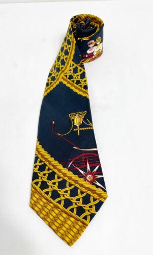 Hermès Hermes Vintage Dark Navy Abstract Silk Tie