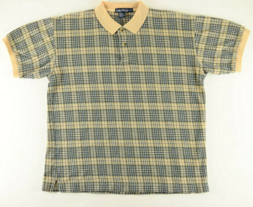 NAUTICA POLO SHIRT SIZE LARGE BEIGE GRAY NAVY BLU… - image 1