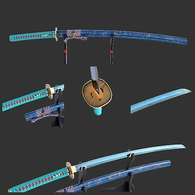 Delicate Electroplating blue blade Japanese Samurai Sword Katana Battle Ready
