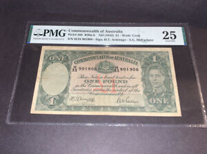 PMG Graded Commonwealth of Australia ND(1942) 1 Pound Banknote P26b