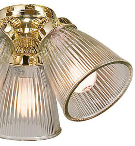 1 Harbor Breeze Ceiling Fan Light Replacement Clear Ribbed Glass Shade Only Ebay