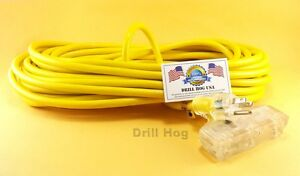 Drill-Hog-USA-12-3-Extension-Cord-50-039-Foot-Tri-Tap-LIGHTED-END-Lifetime-Warranty