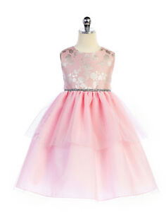 Sweet-Pink-Embroidered-Bodice-Tiered-Flower-Girl-Party-Dress-Crayon-Kids-USA
