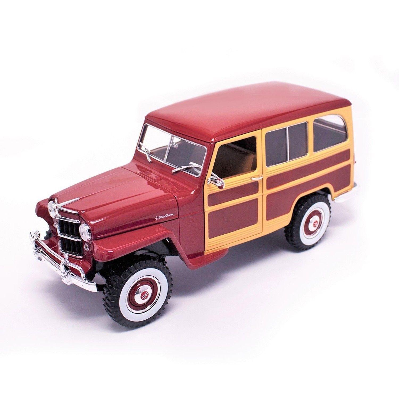 Willys Jeep 1955 Station Wagon rosso scuro e finitura legno da LDC 1.18 Scala Die Cast