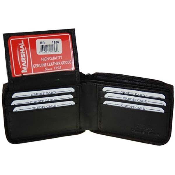 Black Genuine Leather Men's Bifold Wallet Flap Top Zip Around