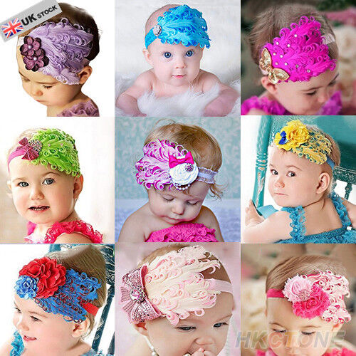 CUTE BABY KID PEACOCK FEATHER LACE BOW FLOWER HEADBAND UK SELLER