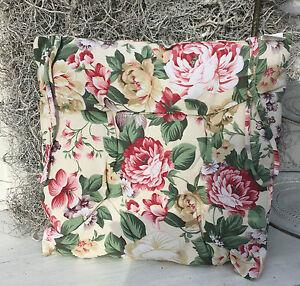 stuhlkissen flower rose natur rot gr n vichy shabby 40x40 blumen floral landhaus ebay. Black Bedroom Furniture Sets. Home Design Ideas