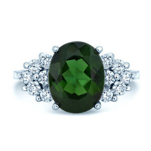 18k-White-Gold-Natural-Green-Tourmaline-Diamond-Oval-Cocktail-Ring-Natural-7
