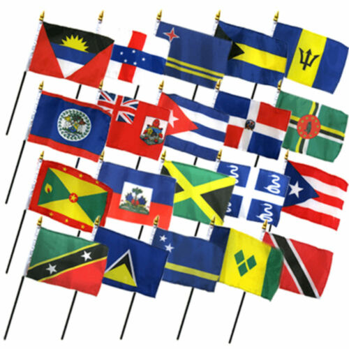 """No Bases Set of 20 Caribbean Countries 4/""""x6/"""" Desk Table Stick Flag"""