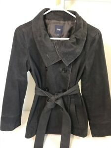 Womens-Gap-Size-M-Black-Peacoat-Jacket-Winter-Coat-Free-Shipping-Button-Down-Top