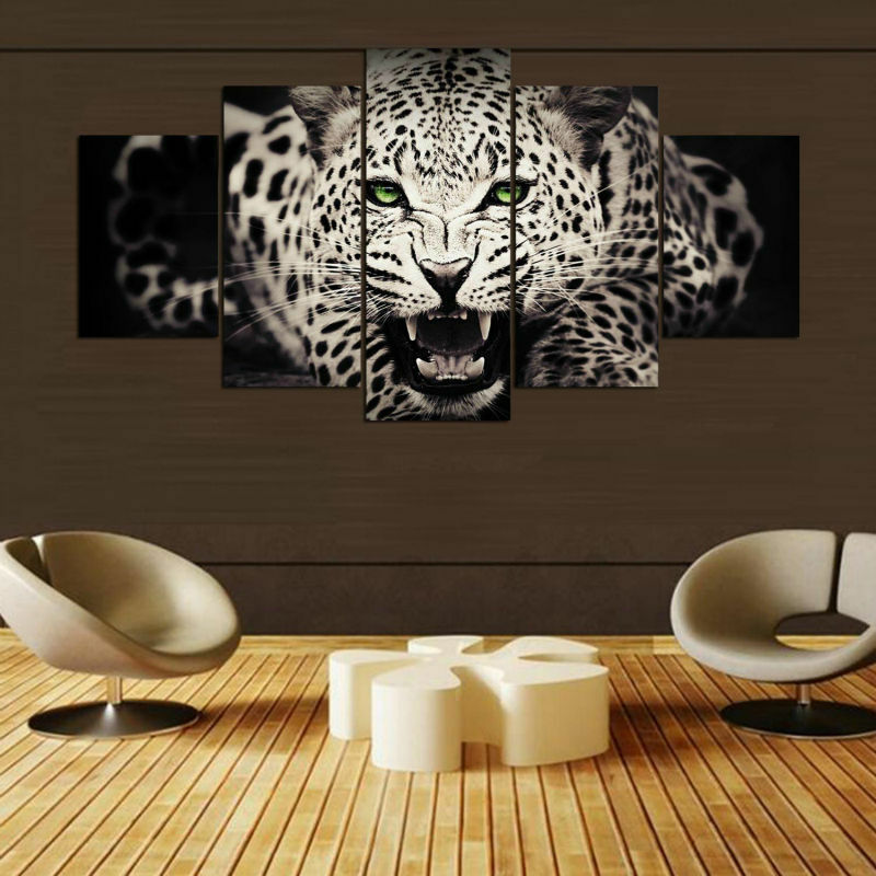 Leopard Animal Painting 5 Piece Canvas Print Wall Poster Art