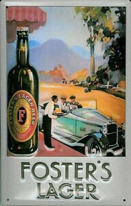 FOSTERS-LAGER-AUTO-Vintage-Metal-Pub-Sign-3D-Embossed-Steel-Home-Bar