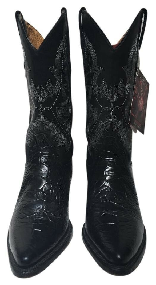 Women's Western Cowgirl Cowboy Boot  El Presidente Black Exotic Boots US Size8 W