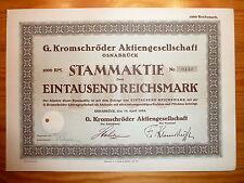 D: G. Kromschröder AG, Osnabrück, 1928, 1000 Reichsmark, GASZÄHLER *