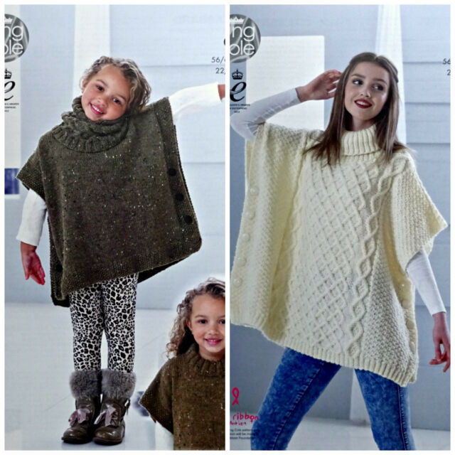 Knitting Pattern Ladies Polo Neck Cable Tabbard Poncho Aran King