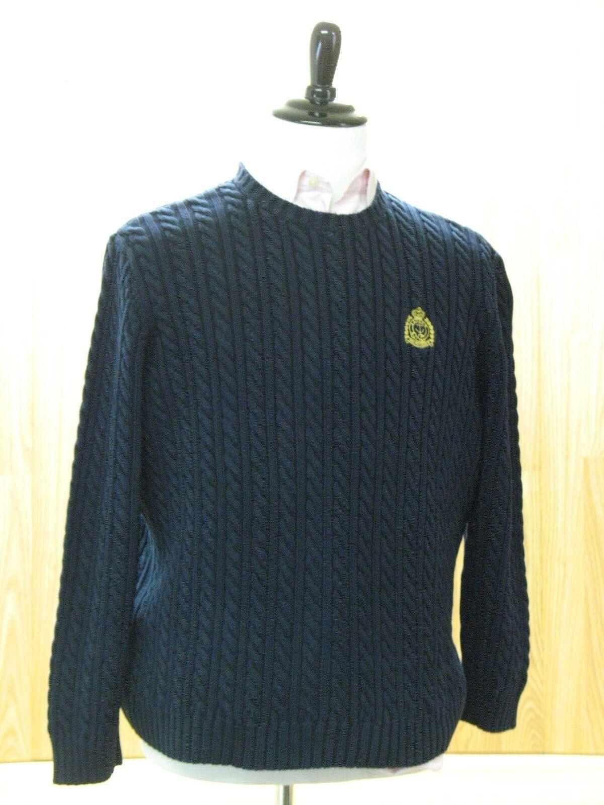 Blau Cable Knit Sweater, Lauren Ralph Lauren, Gold Emblem, 100% Cotton, Größe: XL